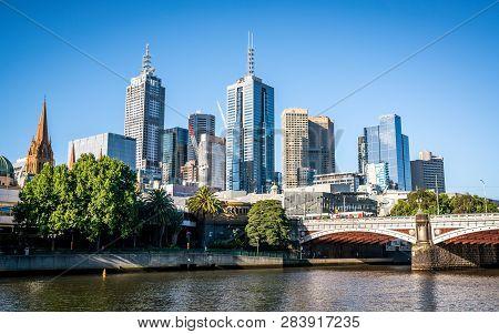 2nd January 2019, Melbourne Australia : Princes Bridge And Melbourne Skyline In Melbourne Victoria A
