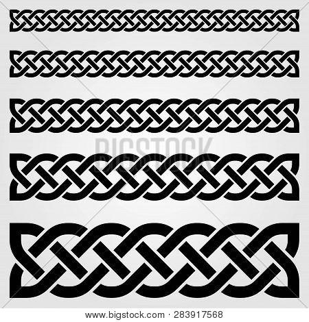 Celtic Style Border Isolated On White Background. Vector Illustration