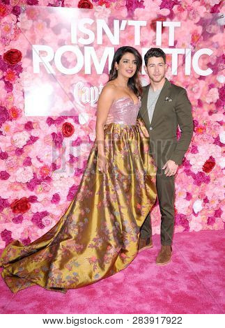 Nick Jonas and Priyanka Chopra at the Los Angeles premiere of 'Isn't It Romantic' held at the Ace Hotel Theatre in Los Angeles, USA on February 11, 2019.