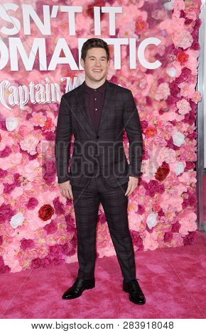 Adam DeVine at the Los Angeles premiere of 'Isn't It Romantic' held at the Ace Hotel Theatre in Los Angeles, USA on February 11, 2019.