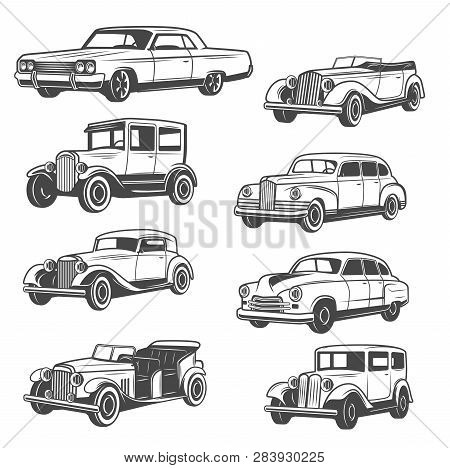Monochrome Vector Cars, Isolated Vintage Vehicle. Old Vehicles Exhibition And Motor Show. Vector Vin