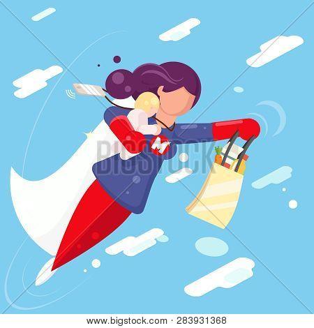 Modern Super Hero Mother Flying Sky Clowds Child In Hand Character Flat Design Vector Illustration