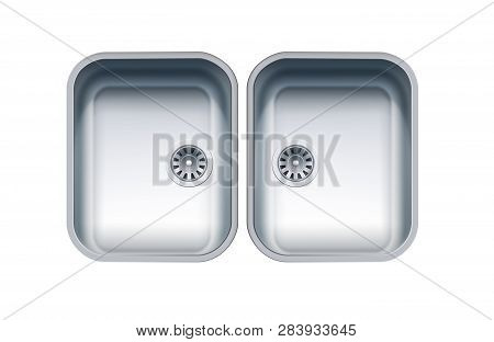 Dual Bowl Stainless Steel Sink. Vector Photo Realistic Illustration Isolated On White