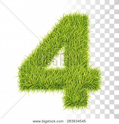 4. Vector Number Four Illustration. Fresh Green Grass Realistic Texture