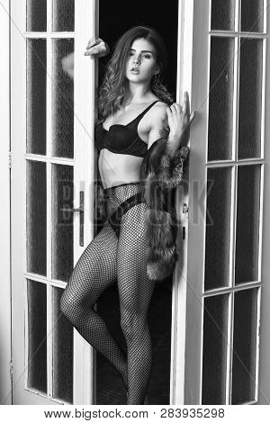 Fashion Lady Enjoy Her Seductiveness. Seduction Art Concept. Woman Seductive Appearance. Woman Seduc