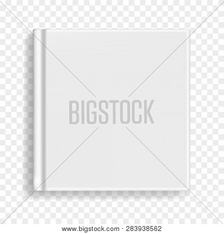 Square Vector Blank Realistic Book, Closed Gray Organizer Or Notebook Cover Template. Front View Of