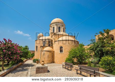 Chania, Greece - August 2018: The Monastery Of Agia Triada Of Tsagaroli In The Chania Region On The