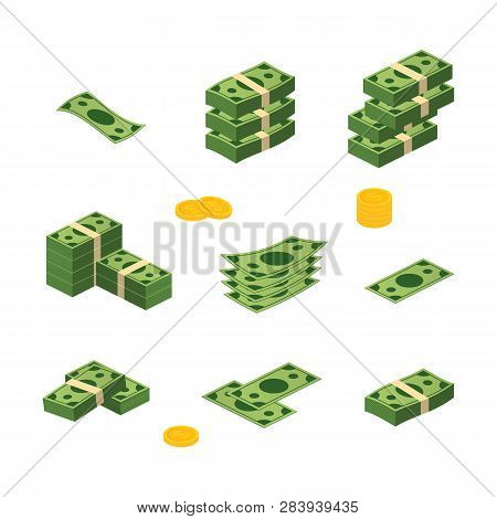 Various Money Bills Dollar Cash Paper Bank Notes Vector Set. Money Cash Heap. Vector Stock Illustrat