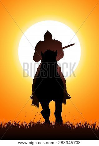 Silhouette Of A Medieval Knight On Horse Carrying A Lance