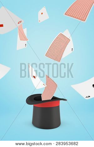 3d Rendering Of A Black Tophat Upside Down With Aces Of All Suits Flying Out Of It On A Light-blue B
