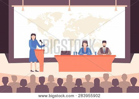Speaker Ang People Group At Conference In Holl. Business Meeting And Education Concept. Vector Illus