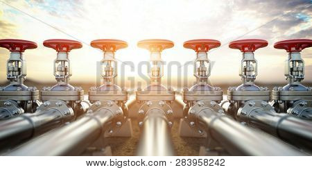 Oil or gas pipe line valves. Oil and gas extraction, production  and transportation industrial background. 3d illustration