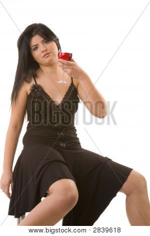 Fashion Model In Front Of White Background