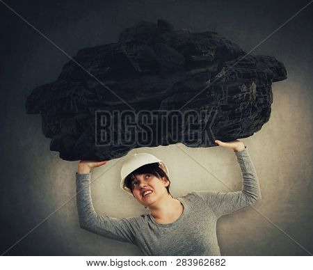 Woman Holding Heavy Burden