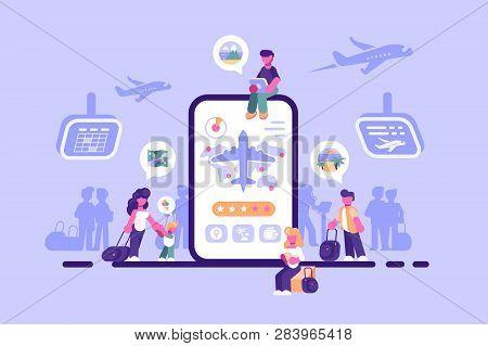 Online Ticket Service Internet Application Vector Illustration