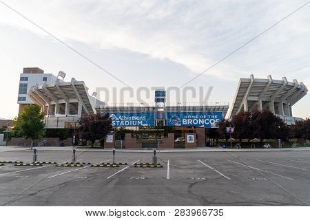 Boise, Idaho - July 21, 2018: Exterior View Of The Albertsons Stadium, Home Of The Boise State Bronc