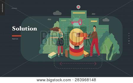 Technology 2 - Solution - Modern Flat Vector Concept Digital Illustration Problem Solution Metaphor,