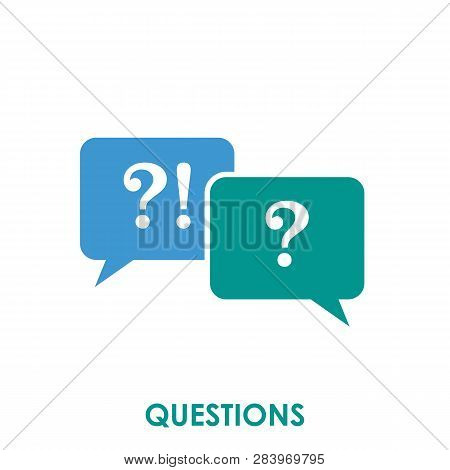 Questions Icon Isolated On White Background. Questions Icon Simple Sign. Questions Icon Trendy And M