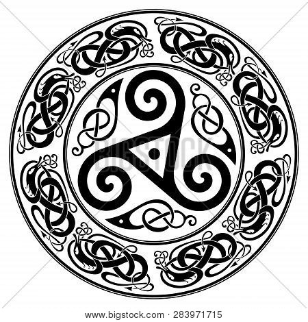 Round Celtic Design, Triskele And Celtic Pattern