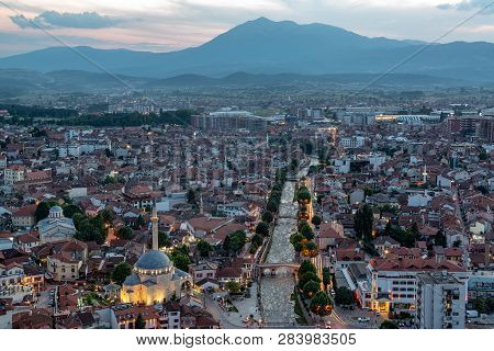 Beautiful Cityscape View Of Prizren, Kosovo Taken Just After Sunset With Sinan Pasha Mosque On The B