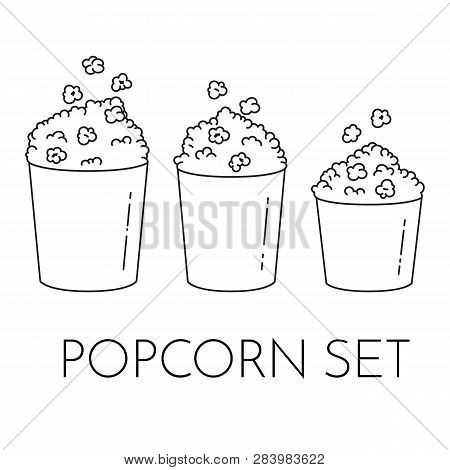 Set Of Cups With Popcorn And Kernels Flying Into The Bucket. Different Sizes Of Popcorn Boxes Isolat