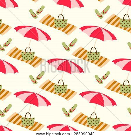 Summer Beach Seamless Vector Pattern With Sun Umbrella, Towel And Holiday Icons. Vintage Color Summe