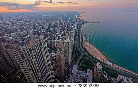 Chicago, Illinois - July 15, 2018: Chicago Skyline From The John Hancock Observatory