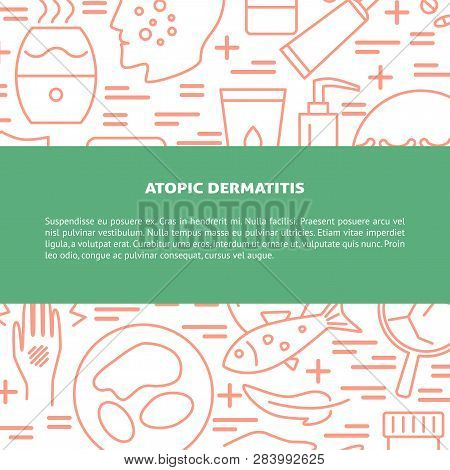 Atopic Dermatitis Concept Background In Line Style With Place For Text