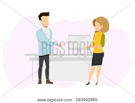 Freelance Business Couple Having Conversation. Confident, Successfull Male And Female Freelancer Cha