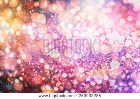 Disco Lights. Festive Christmas Background. Elegant Abstract Background With Bokeh Defocused Lights
