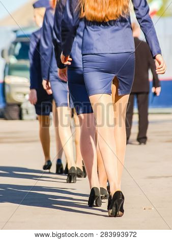 Girls In Business Suit Step In Line. Heels And Skirt