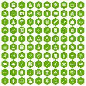 100 violation icons set in green hexagon isolated illustration poster