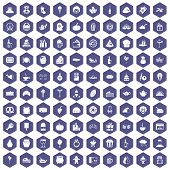 100 bounty icons set in purple hexagon isolated illustration poster