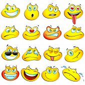 illustration of set glossy frog headed smiley in different mood poster
