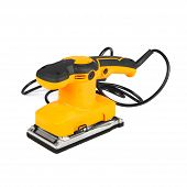Brand new yellow color finishing sander isolated on white background poster