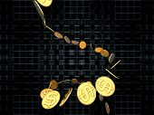 Stream of golden dollar coins on the subject of finance money business and commerce poster