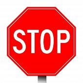 Red stop sign isolated on a white background. poster