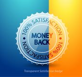 Transparent money back guarantee badge. Vector icon poster