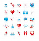 Set of 20 glossy medical icons poster