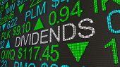 Dividends Stock Market Investments Ticker 3d Illustration poster