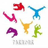 Set of 6 parkour silhouettes - urban freestyle sport poster