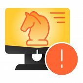 Trojan virus flat icon. Horse on desktop color icons in trendy flat style. Computer virus gradient style design, designed for web and app. Eps 10. poster