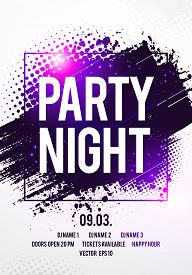 Vector Illustration Night Dance Party Music Poster Template. Electro Style Concert Disco Club Party