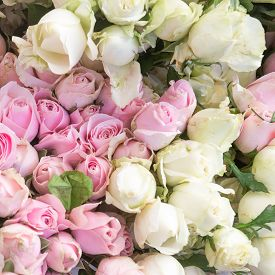 Pretty White And Pink Roses For A Wedding Arrangement