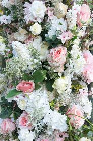 Pretty White And Pink Wedding Flowers Including Roses And Hydrangea With Foliage