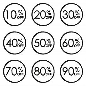 Sale And Discount Tag Set. 10,20,30,40,50,60,70,80,90 Percent Price Off. Vector Illustration.