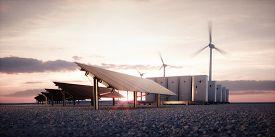 Dawn Of New Renewable Energy Technologies. Modern, Aesthetic And Efficient Dark Solar Panel Panels,