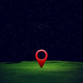 Illustration Of Green Field Under Blue Sky With Pin Location. Abstract Concept Image