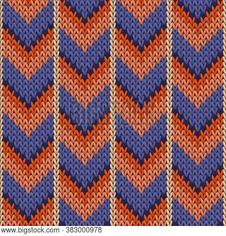 Fairisle Downward Arrow Lines Christmas Knit Geometric Seamless Pattern. Jacquard Knit Tricot  Fabri