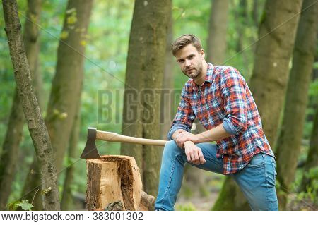 Work Is Done. Camping And Hiking. Outdoor Activity. Strong Man With Ax. Woodcutter. Ranch Man Carry